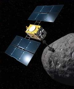 Artists conception of Marco Polo sampling a Near-Earth Asteroid